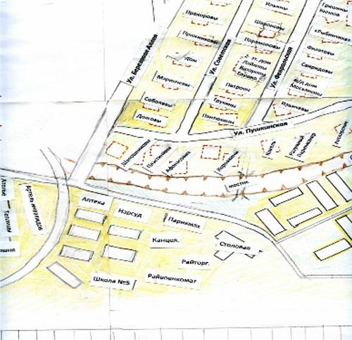 Фото 5. План Центрального поселка на схеме северной части Химок. Авторы И.Н. Шумилкина и О.В. Кирьянова.
