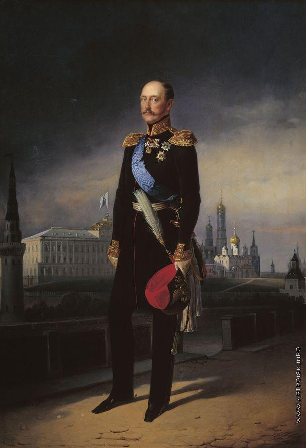 Рис. 1 Егор Иванович Ботман. Николай I на фоне Кремля 1856. Холст, масло, ГМП.