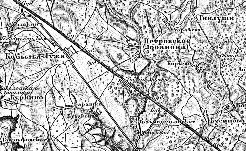 Рис.4 Фрагмент «Топографической карты Московской Губернии. 1860»[7], на котором показан участок Николаевской железной дороги со станцией Химки.