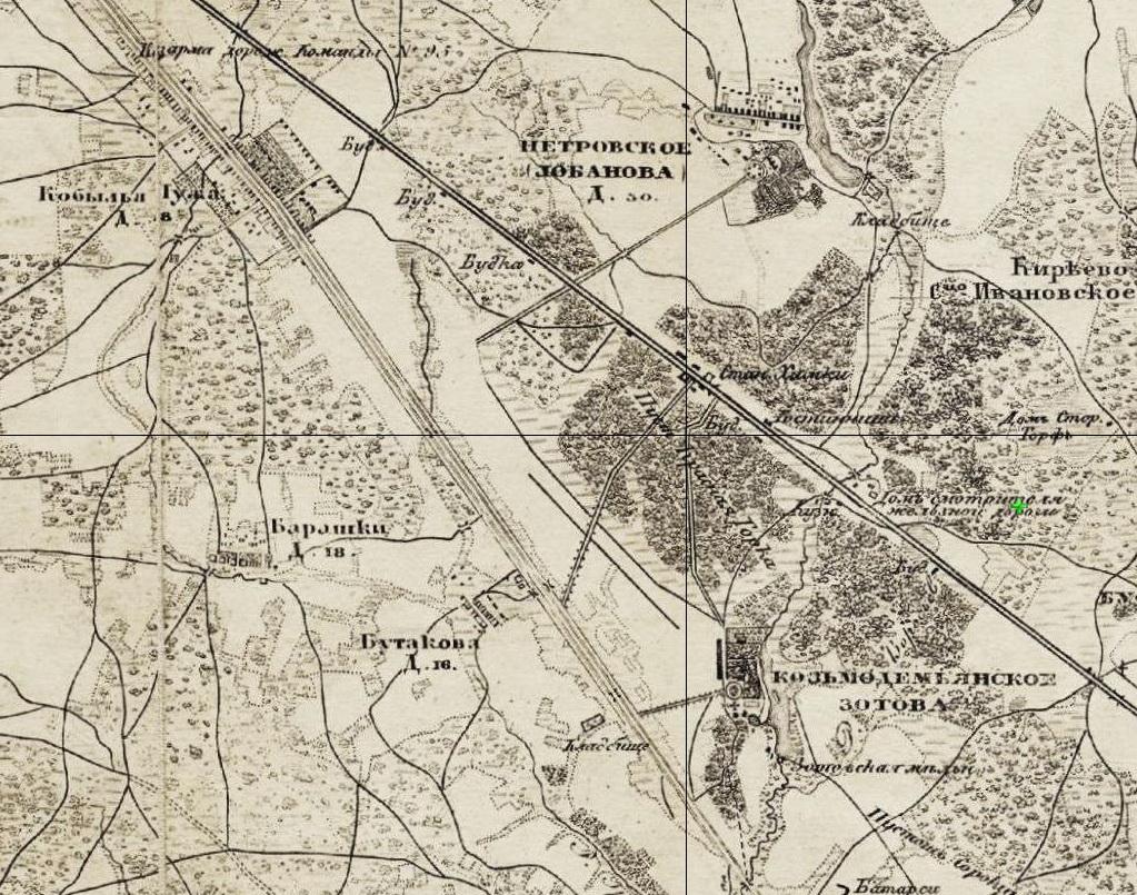 Рис. 6 Фрагмент «Топографической карты окрестностей Москвы.1856», на котором показан участок Николаевской железной дороги со станцией Химки и нанесённое соединительное шоссе.