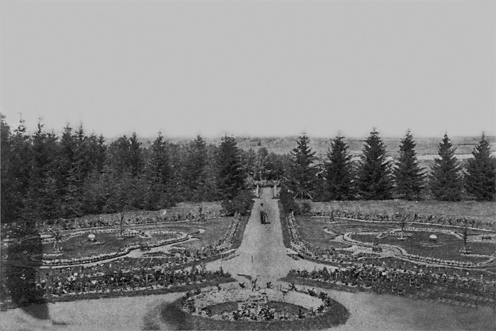 Рис. 4 Усадьба Свистуха. Вид цветника и парка, сер. 1900-е гг.[8]