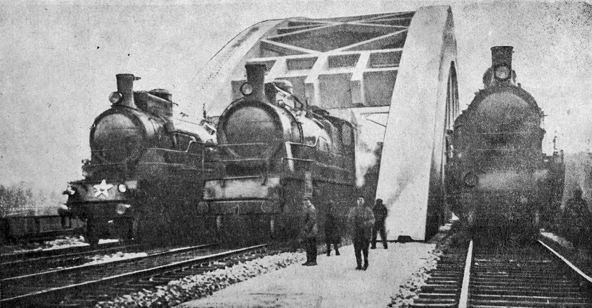 Испытания железобетонного четырёхпутного моста через канал у ст.Химки. Ноябрь 1934 года