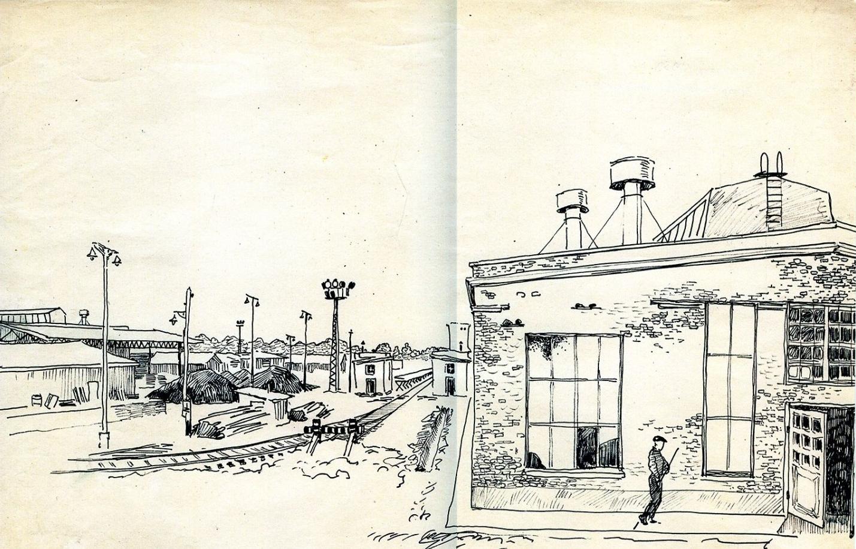 Рис. 6 «Двор мебельного комбината», Сходня, 1959.Художник Э.С. Зарянский.