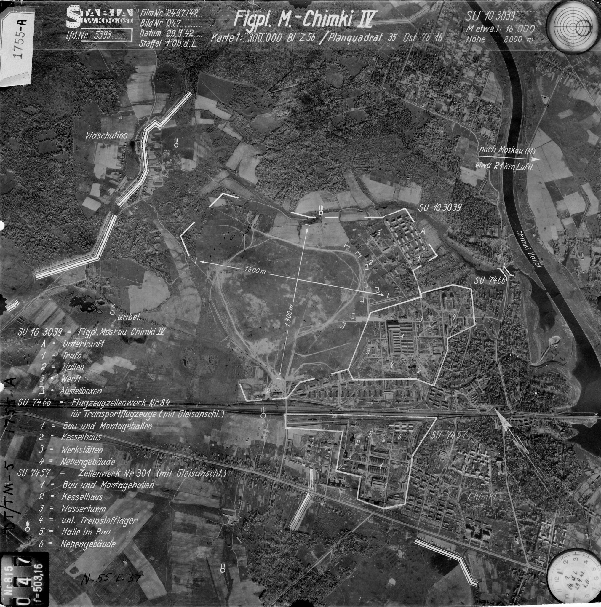 Фото 1. Немецкая аэрофотосъёмка территории авиазаводов №84 и №301 в г. Химки от 29 сентября 1942 г.
