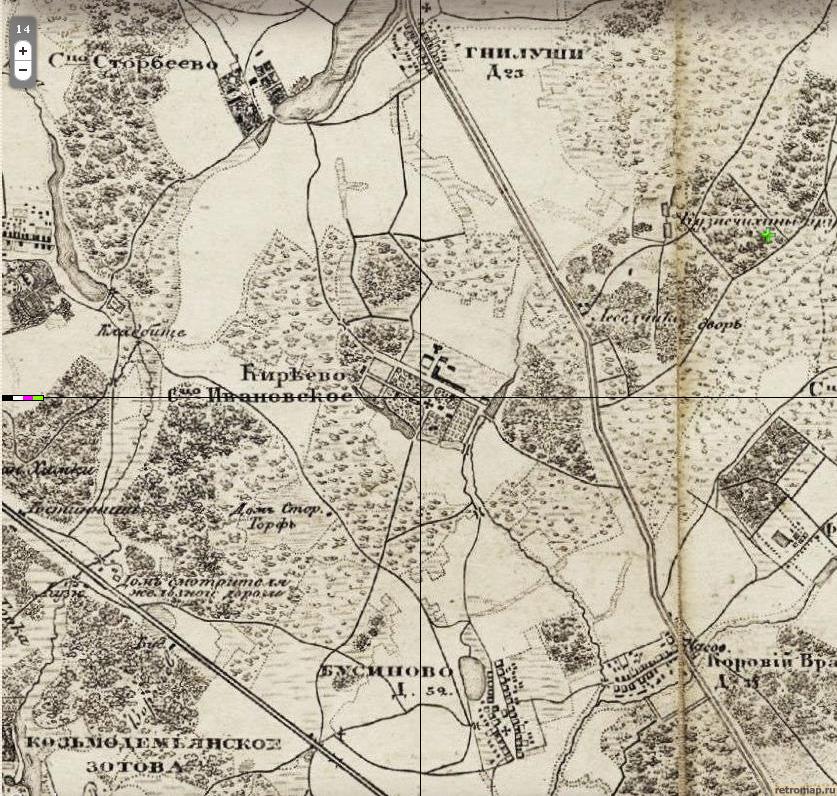 Рис.1. Киреево на карте 1870 г.