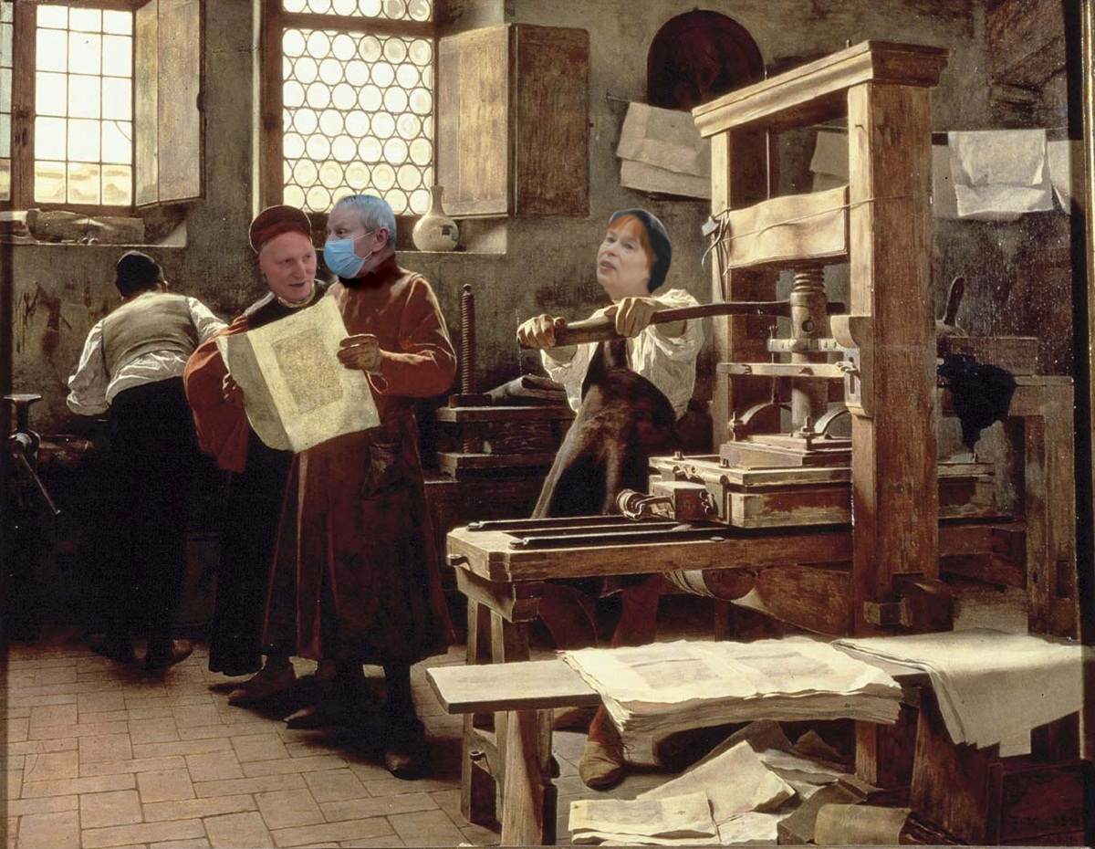 Картина художника Неизвестного. Галина Викторовна с краеведами печатает новый Альманах. 5 октября 2021 год.